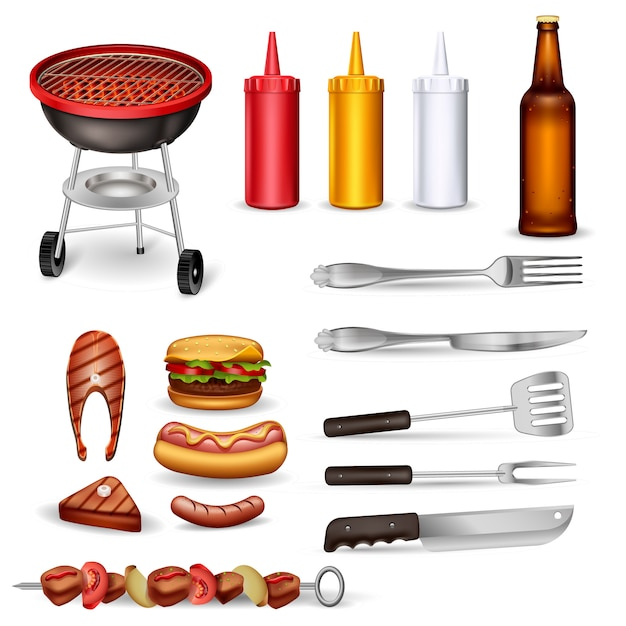 Barbecue decoratieve pictogrammen instellen Gratis Vector