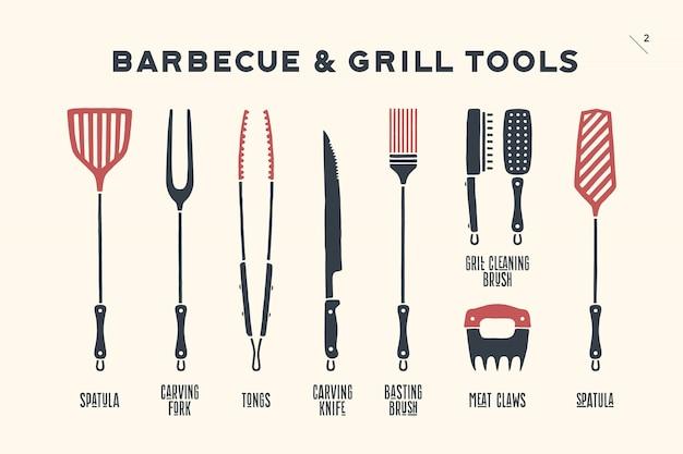 Barbecue- en grillgereedschappen Premium Vector