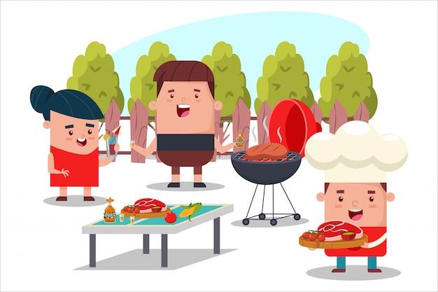 Barbecue feest met vrienden. cartoon platte picknick illustratie van mensen in de achtertuin. Premium Vector