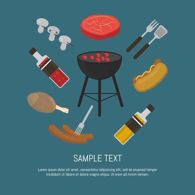 Barbecue grill kaart, ontwerpsjabloon. Premium Vector