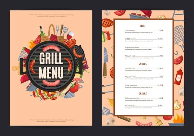 Barbecue grill menu banner voor restaurant Premium Vector