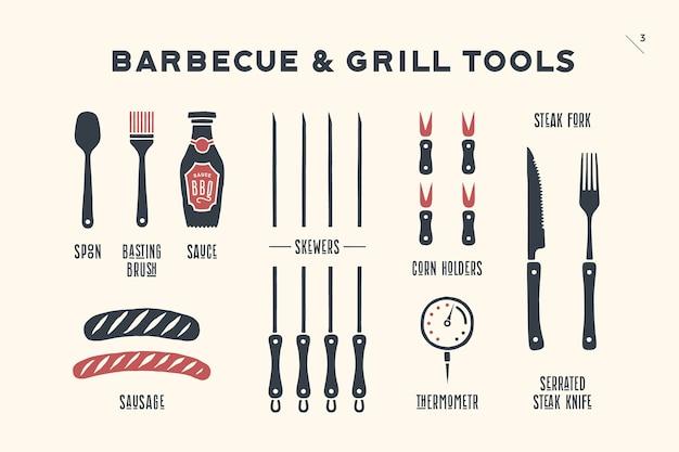 Barbecue, grillset. poster bbq-diagram en -schema - barbecue-grillgereedschap. set van bbq-spullen, gereedschappen voor steakhouse, restaurant, keukenposter en vleesontwerpthema's. hand getekend. Premium Vector