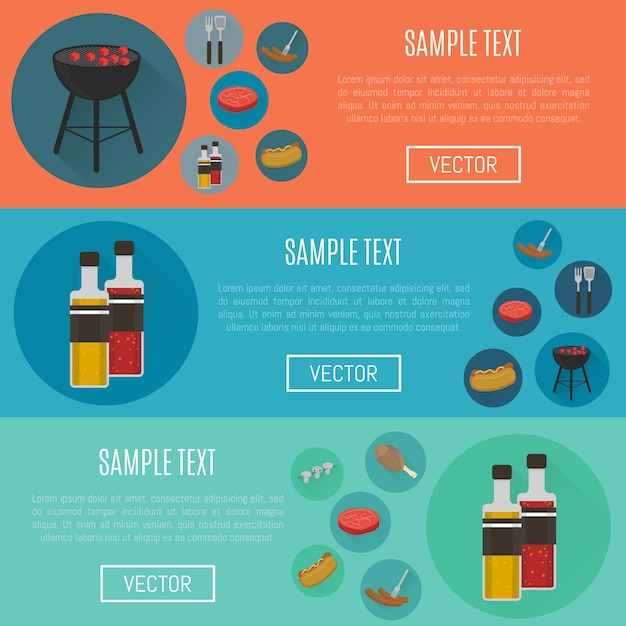 Barbecue horizontale websitesjablonen Premium Vector