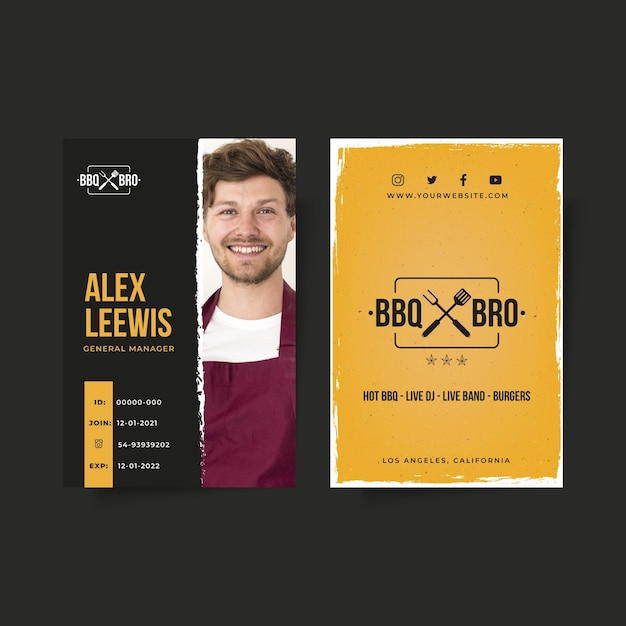 Barbecue id-kaartsjabloon Gratis Vector
