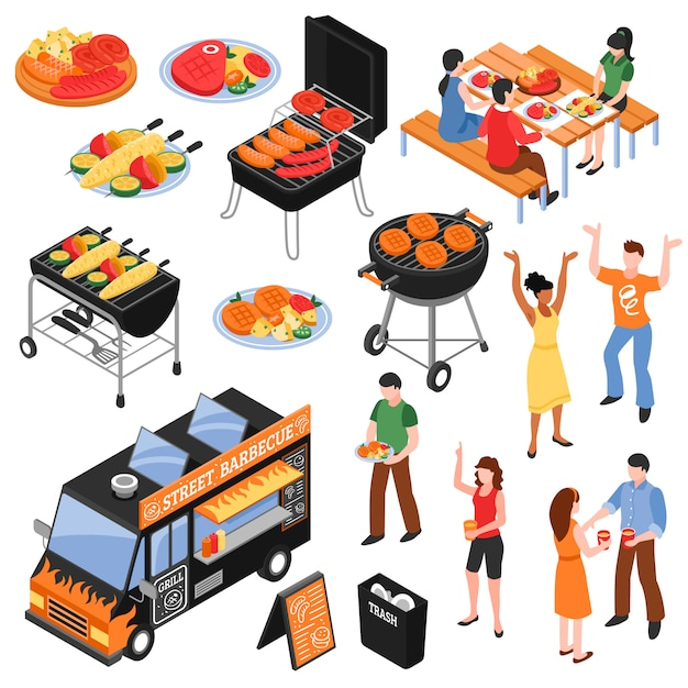 Barbecue isometrische set Gratis Vector