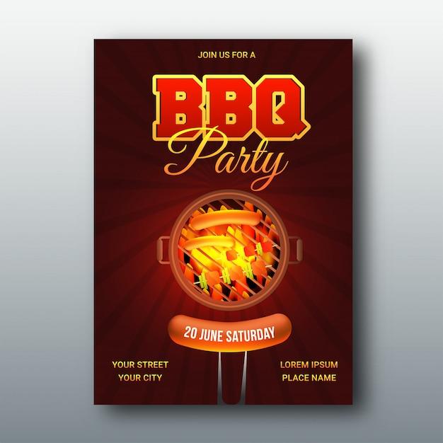 Barbecue menukaart of uitnodiging. Premium Vector