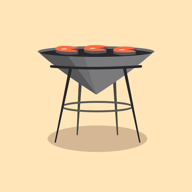 Barbecue of grillbarbecue. picknick kamperen koken. Premium Vector