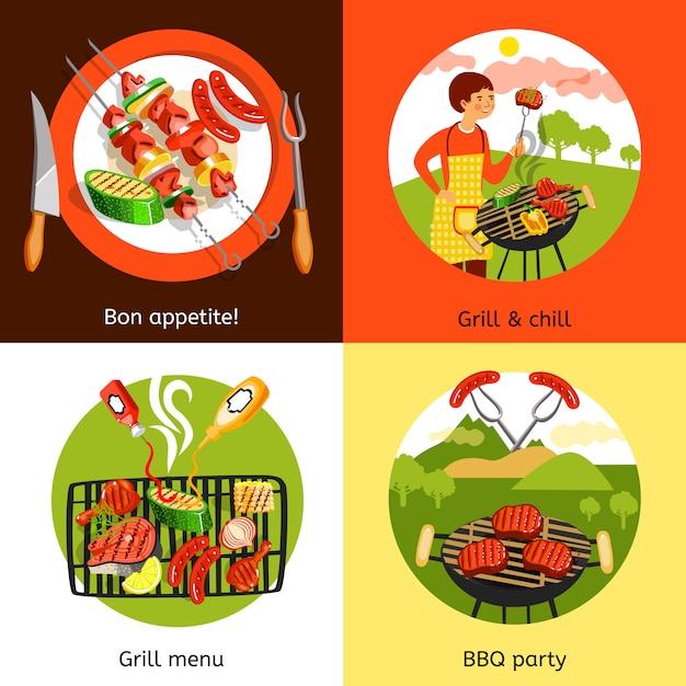 Barbecue partij elementen ontwerp en karakter Gratis Vector