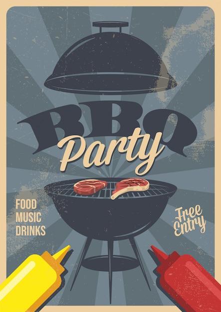 Barbecue partij flyer of poster ontwerpsjabloon. vintage retro stijl. uitnodigingskaart voor een barbecue. Premium Vector