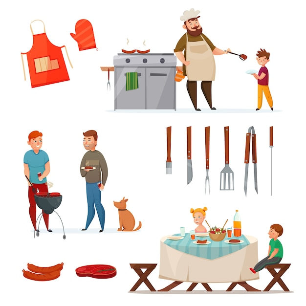 Barbecue partij icon set Gratis Vector