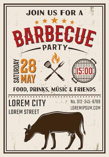 Barbecue partij retro stijl poster Gratis Vector