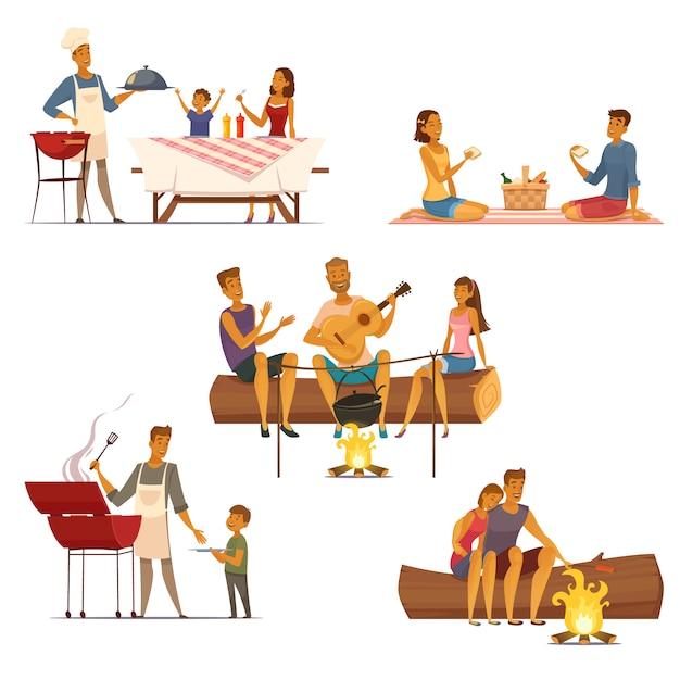 Barbecue picknick buiten weekend met familie en vrienden 5 retro cartoon composities iconen geïsoleerd Gratis Vector