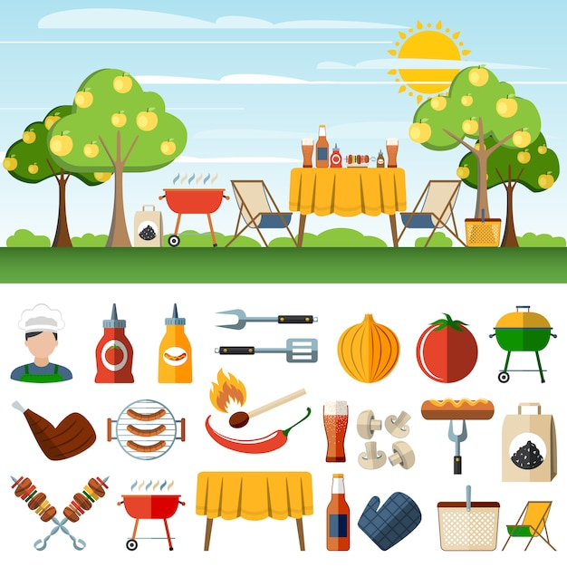 Barbecue picknick pictogrammen compostion banners Gratis Vector