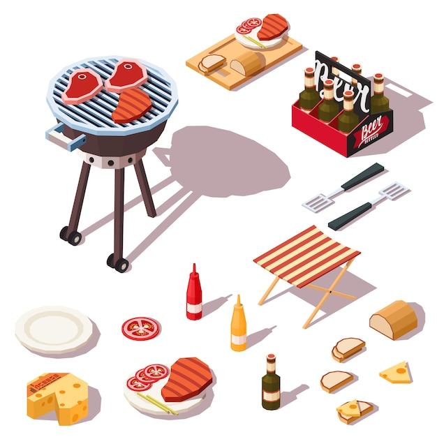 Barbecue pictogrammen collectie. Premium Vector