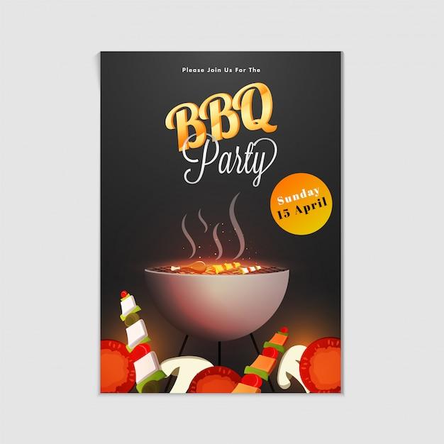 Barbecue poster, flyer, sjabloon of uitnodiging ontwerp. Premium Vector