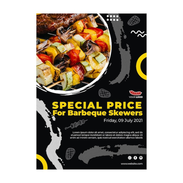 Barbecue poster sjabloon Gratis Vector