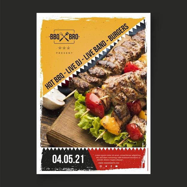 Barbecue poster sjabloon Gratis Vector