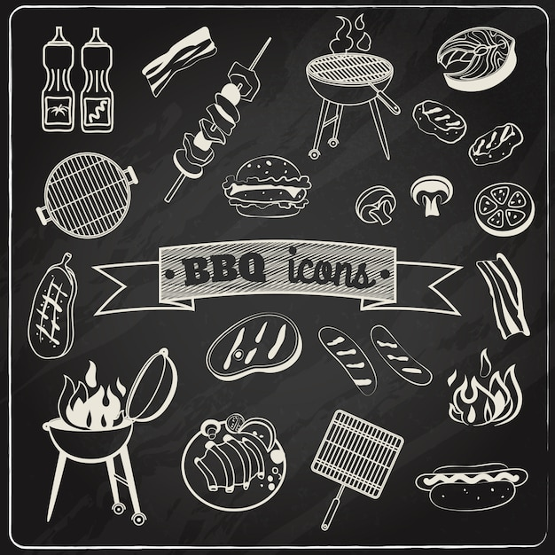 Barbecue-schoolbordenset Gratis Vector