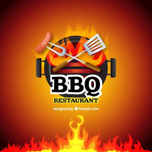 Barbecue specialiteit teken vector achtergrond Gratis Vector