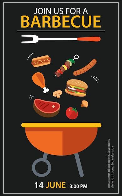 Barbecue uitnodiging partij sjabloon set Premium Vector