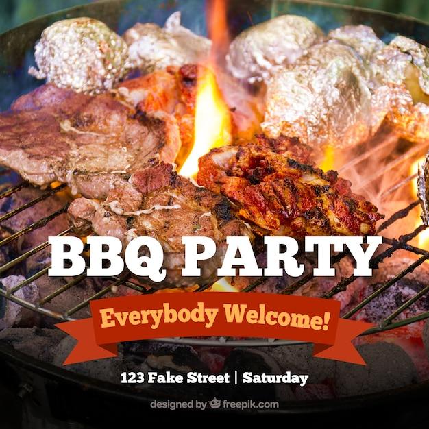 Populair Barbecue uitnodiging, sjabloon met een rood lint Vector   Gratis  #FV45