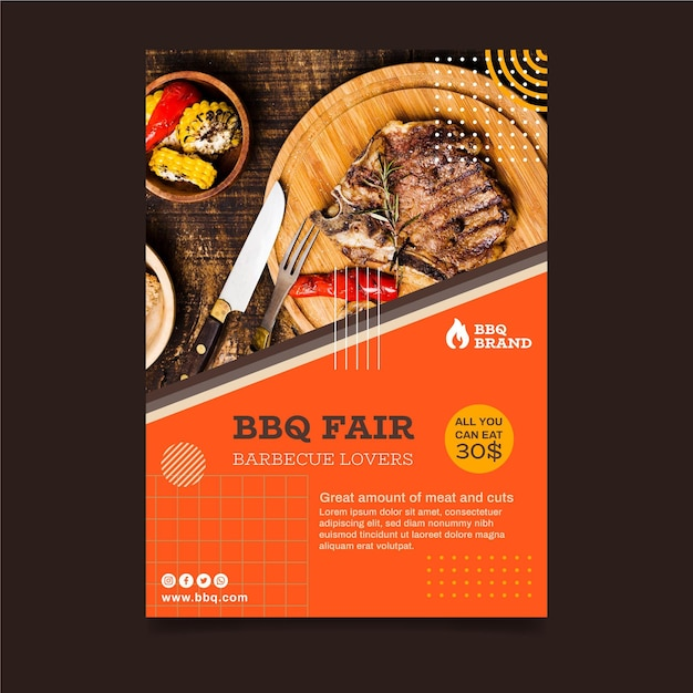 Barbecue verticale folder sjabloon Gratis Vector