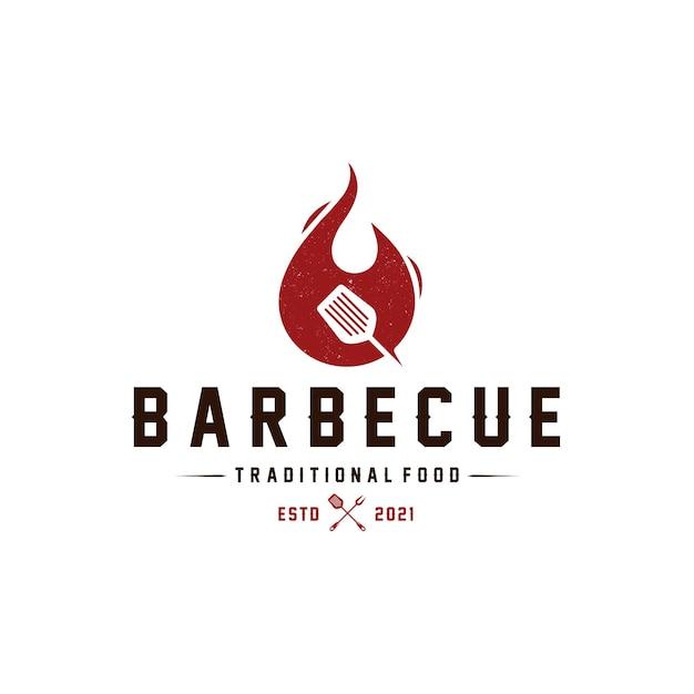 Barbecue vuur logo sjabloon Premium Vector