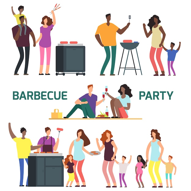 Barbeque party stripfiguur families Premium Vector
