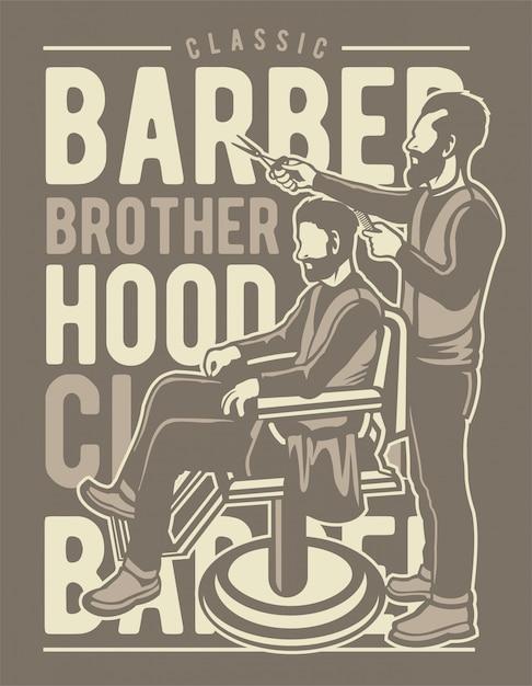 Barber brotherhood Premium Vector