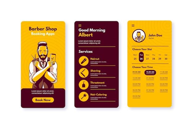 Barber shop boeking app man met een schaar Gratis Vector