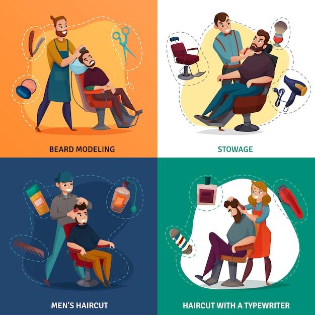 Barber shop cartoon concept-illustratie Gratis Vector