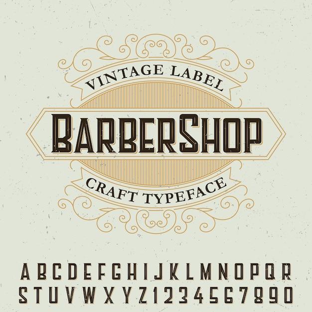 Barber shop label lettertype poster met voorbeeld labelontwerp Gratis Vector
