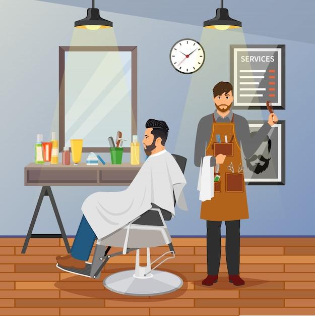 Barber shop plat ontwerp Gratis Vector