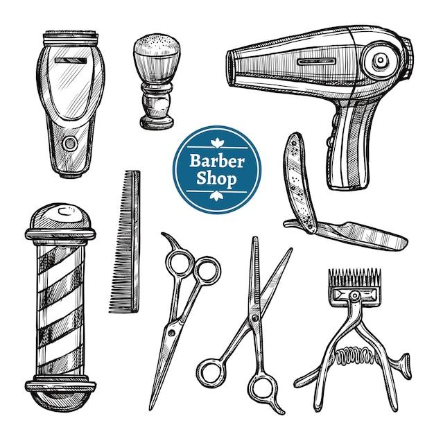 Barber shop set doodle schets iconen Gratis Vector