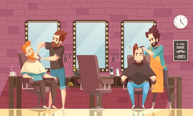 Barbershop achtergrond illustratie Gratis Vector