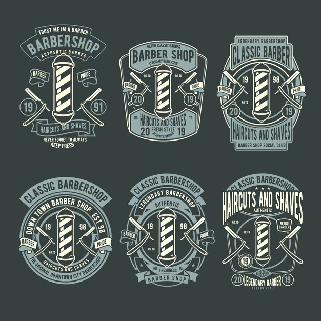 Barbershop badge Premium Vector