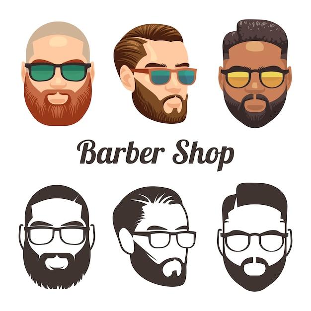 Barbershop cartoon en overzicht gezichten Premium Vector
