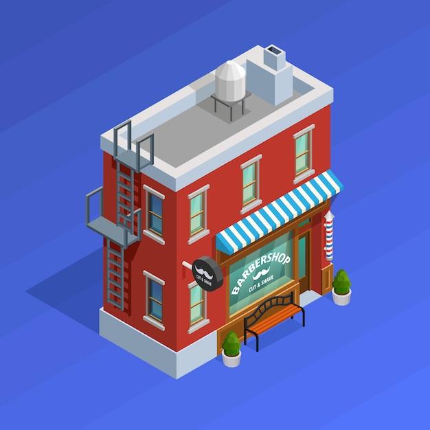 Barbershop gebouw concept Gratis Vector