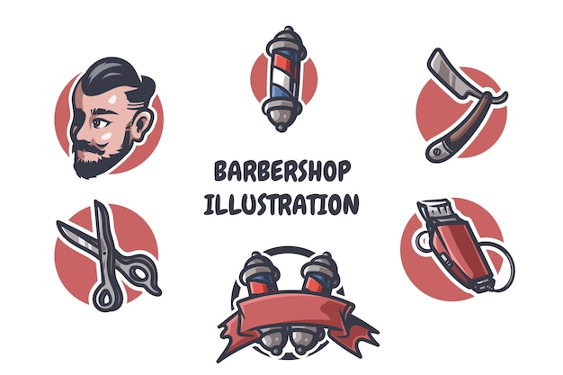 Barbershop illustratie Premium Vector