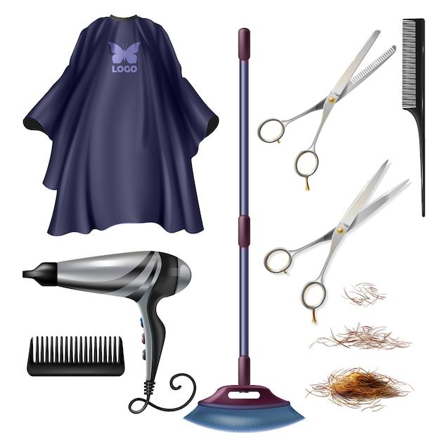Barbershop kapper gereedschappen en accessoires Gratis Vector