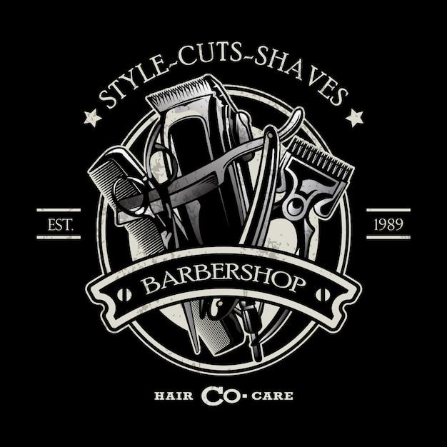 Barbershop logo sjabloon Premium Vector