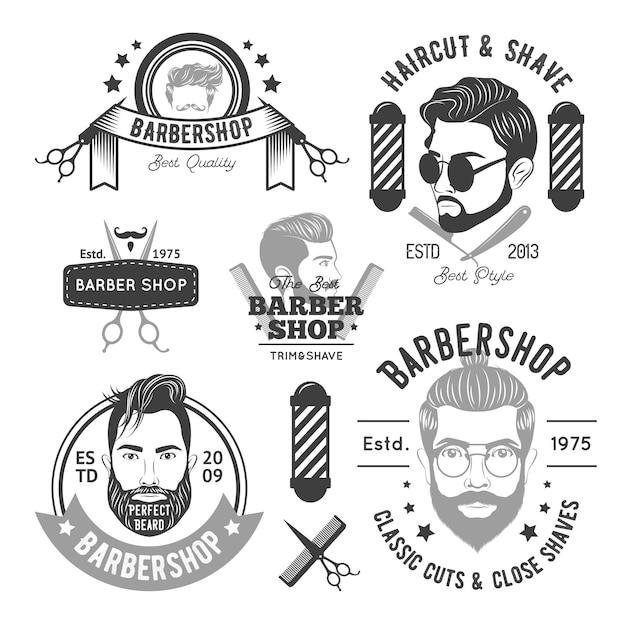 Barbershop monochrome emblemen Gratis Vector