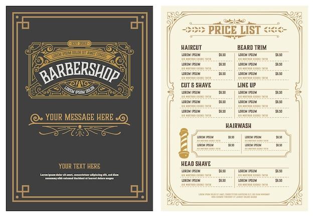 Barbershop prijslijst flyer Premium Vector