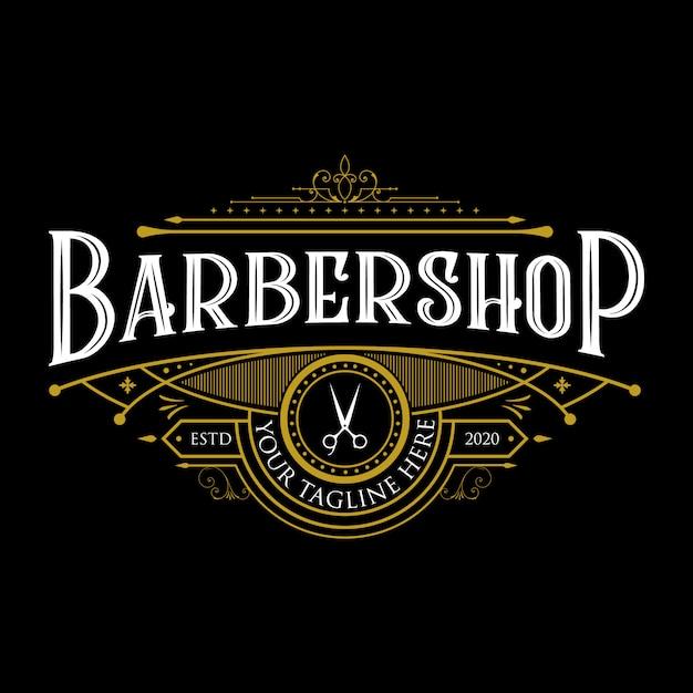 Barbershop vintage logo-ontwerp. vintage belettering premium illustratie op donkere achtergrond. Premium Vector