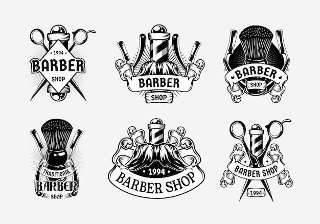 Barbershop vintage logo sjabloon instellen Premium Vector