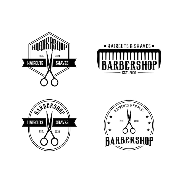 Barbershop vintage set logo ontwerpsjabloon Premium Vector