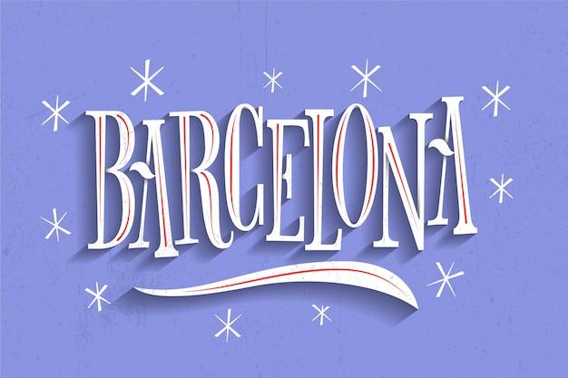 Barcelona stad belettering Gratis Vector