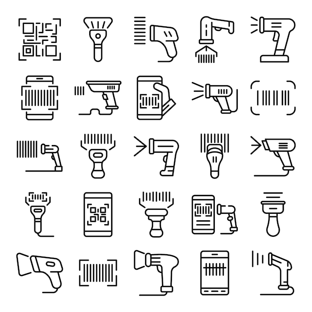 Barcode scanner iconen set, kaderstijl Premium Vector