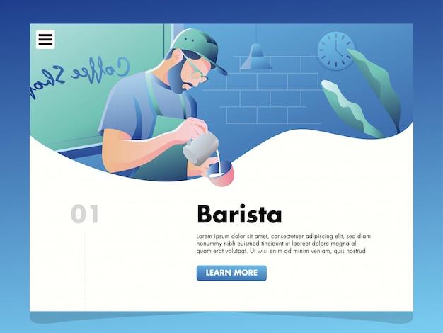 Barista gieten koffie illustratie voor de sjabloon van de bestemmingspagina Premium Vector