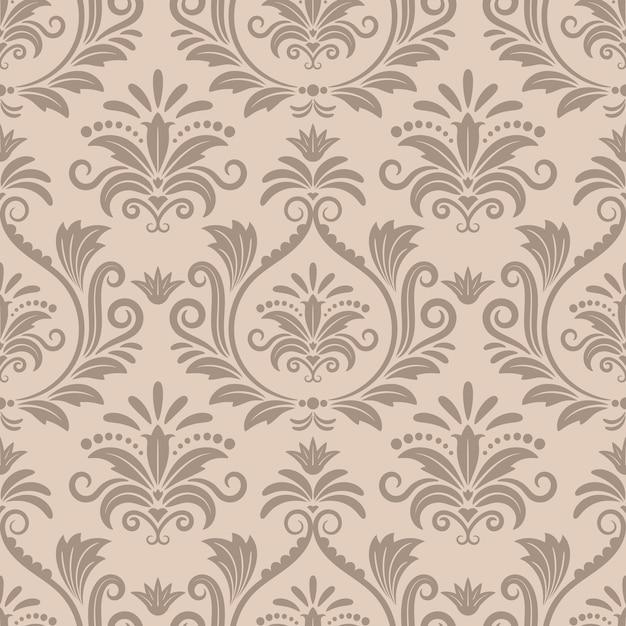 Barokke naadloze vector patroon. sierontwerp retro textiel, kromme victoriaanse beige illustratie Gratis Vector